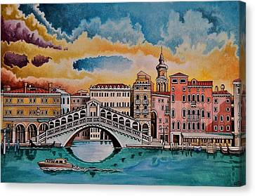 Dawn Over The Rialto Bridge, Venice Canvas Print