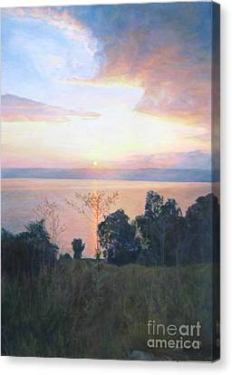 Dawn Over The Sea Of Galilee. Canvas Print