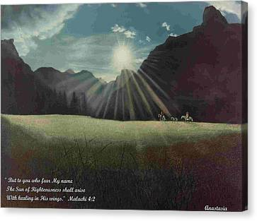 Canvas Print featuring the painting Dawn Riders With Verse by Anastasia Savage Ealy