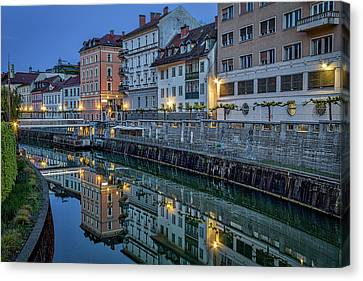 Canvas Print featuring the photograph Dawn River Reflections #3 - Slovenia by Stuart Litoff