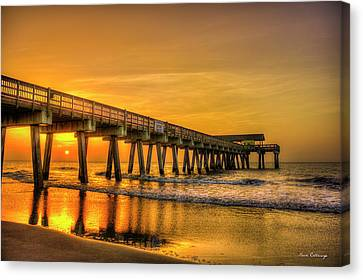 Canvas Print featuring the photograph Dawn Under Tybee Island Pier Sunrise Reflections Art by Reid Callaway
