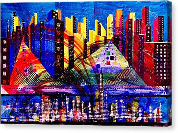 Representative Abstract Canvas Print - Day And Night Cityscape by David Raderstorf