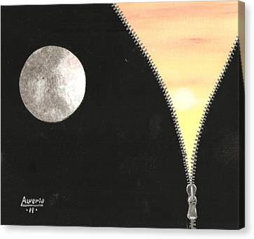 Canvas Print featuring the painting Day And Night by Edwin Alverio
