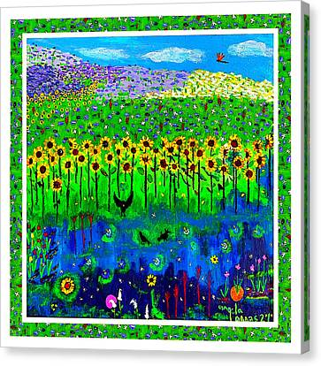 Day And Night In A Sunflower Field With Floral Border Canvas Print