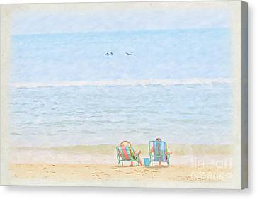 Canvas Print featuring the digital art Day At The Beach Sun And Sand by Randy Steele
