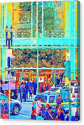 Day Before Christmas At Neiman Marcus . Photoart Canvas Print by Wingsdomain Art and Photography