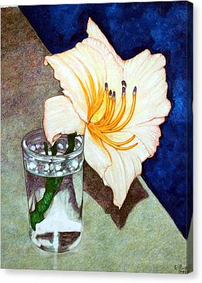 Day Lily In A Water Glass Canvas Print by Edward Ruth