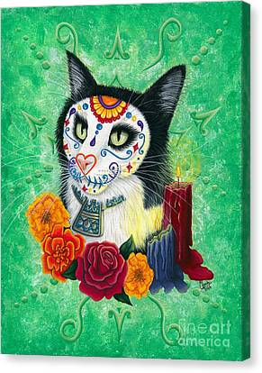 Canvas Print featuring the painting Day Of The Dead Cat Candles - Sugar Skull Cat by Carrie Hawks