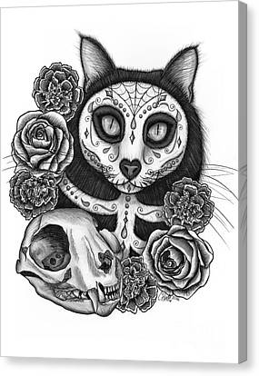 Canvas Print featuring the drawing Day Of The Dead Cat Skull - Sugar Skull Cat by Carrie Hawks