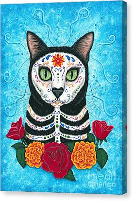 Day Of The Dead Cat - Sugar Skull Cat Canvas Print by Carrie Hawks