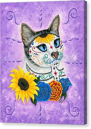Day Of The Dead Cat Sunflowers - Sugar Skull Cat Canvas Print by Carrie Hawks