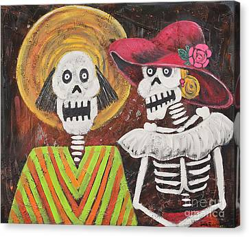 Day Of The Dead Couple Canvas Print by Sonia Flores Ruiz
