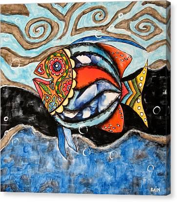 Day Of The Dead Fish Canvas Print by Rain Ririn