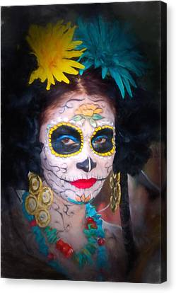 Day Of The Dead Flower Lady Canvas Print