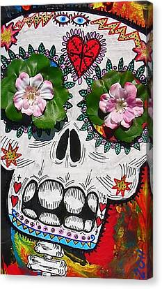 Day Of The Dead Skeleton With Flowers And Stars Canvas Print by Nancy Mitchell