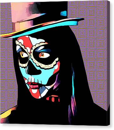 Day Of The Dead Skull Woman Wearing Top Hat Canvas Print