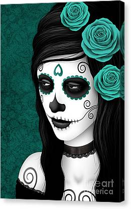 Day Of The Dead Sugar Skull Woman With Teal Blue Roses Canvas Print by Jeff Bartels