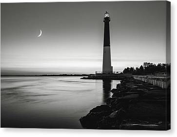 Canvas Print featuring the photograph Daybreak At Barnegat, Black And White by Eduard Moldoveanu