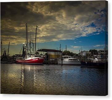 Shrimp Boat Canvas Print - Daybreak On The Captain Jack by Marvin Spates