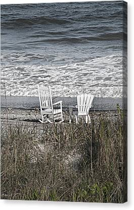 Adirondack Chairs On The Beach Canvas Print - Daydreaming By The Sea  by Betsy Knapp