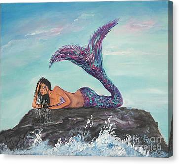 Daydreaming Mermaid Canvas Print by Leslie Allen