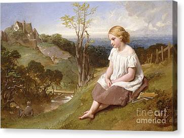 Daydreaming On The River Bank Canvas Print by Henry Lejeune