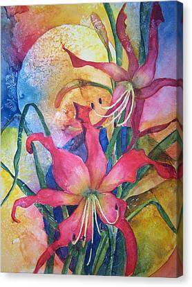 Canvas Print featuring the painting Daylilies In July by Sandy Collier