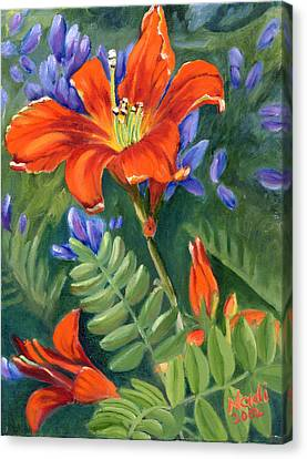 Canvas Print featuring the painting Daylilies by Renate Nadi Wesley