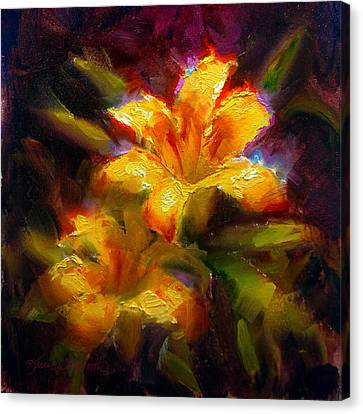 Canvas Print featuring the painting Daylily Sunshine - Colorful Tiger Lily/orange Day-lily Floral Still Life  by Karen Whitworth