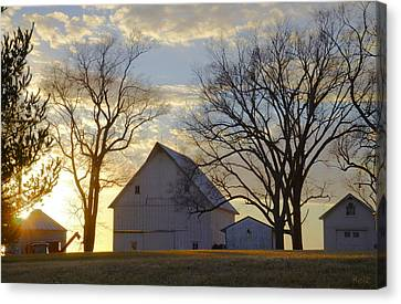 Days End At The Farm Canvas Print by Christine Belt