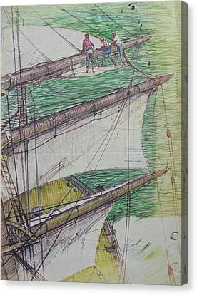 Canvas Print featuring the drawing Days Of Sail by Mike Jeffries