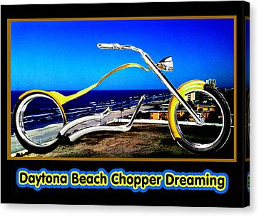 Daytona Beach Chopper Dreaming Yellow Gold Jgibney The Museum Canvas Print by The MUSEUM Artist Series jGibney