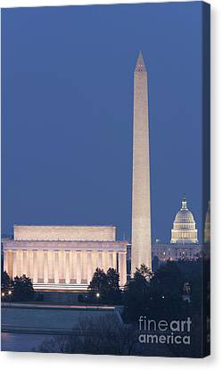 Dc Landmarks At Twilight Canvas Print by Clarence Holmes