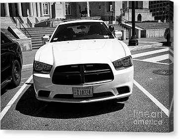 Police Cruiser Canvas Print - dc metropolitan police dodge charger pursuit cruiser  judiciary square Washington DC USA by Joe Fox