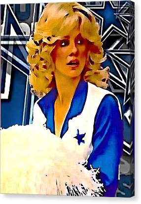 Dallas Cowboy Cheerleaders Canvas Print - Dcc Dk by Carrie OBrien Sibley