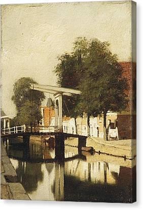 De Burgwal Met De Hagebrug Te Haarlem Canvas Print by MotionAge Designs