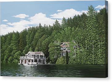 Canvas Print featuring the painting De Groote Summer Home Muskoka by Kenneth M Kirsch