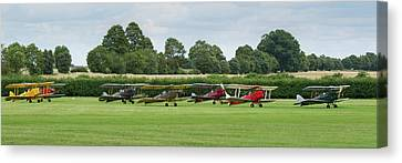 Canvas Print featuring the photograph De Havilland Tiger Moths Line-up by Gary Eason