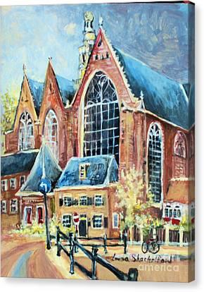 Canvas Print featuring the painting De Ode Kerk by Linda Shackelford