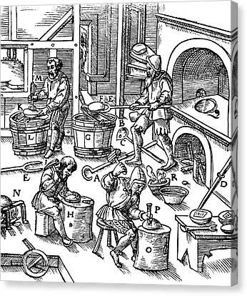 De Re Metallica, Metallurgy Workshop Canvas Print by Science Source