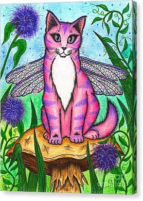 Dea Dragonfly Fairy Cat Canvas Print by Carrie Hawks