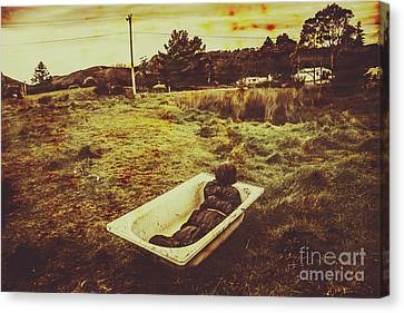 Dead Body Lying In Bath Outside Canvas Print by Jorgo Photography - Wall Art Gallery