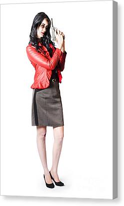 Dead Female Secret Agent Holding Hand Gun Canvas Print