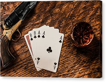 Dead Mans Hand A Gun And A Shot Of Whiskey Canvas Print by Semmick Photo