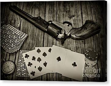 Dead Mans Hand Black And White Canvas Print by Paul Ward