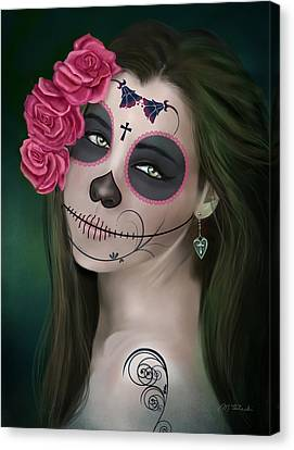 Day Of The Dead Bride Sugar Skull Canvas Print by Maggie Terlecki