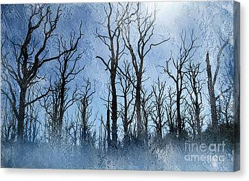 Dead Trees In Blue Canvas Print by The Rambler