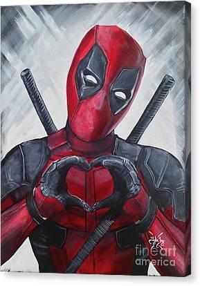 Super Heroes Canvas Print - Deadpool Love by Tyler Haddox