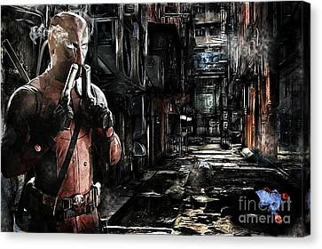 Deadpool Merc-ing Aint Easy Canvas Print by The DigArtisT