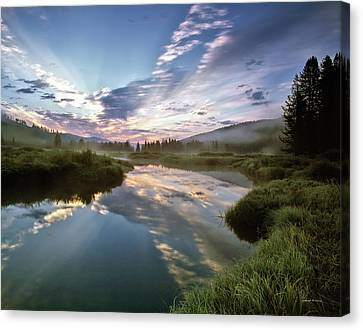 Deadwood River Reflection Sunrise Canvas Print by Leland D Howard